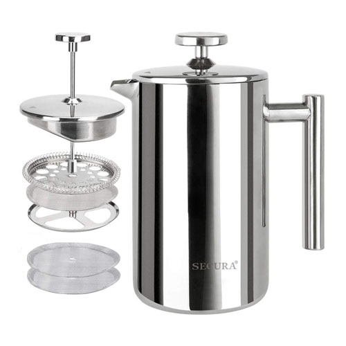 Secura French Press Coffee Maker, Stainless Steel